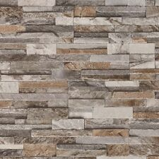 Brick Effect Wallpaper 3D Slate Stone Wall Textured Vinyl Brown Grey Beige