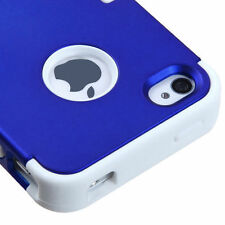 For iPhone 4 4S Rubber IMPACT TUFF HYBRID Case Skin Phone Cover Blue White
