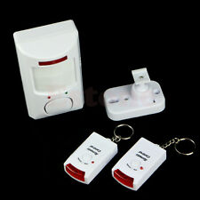 Wireless PIR Motion Sensor Alarm & 2 Remote Controls Home Security Shed Garage