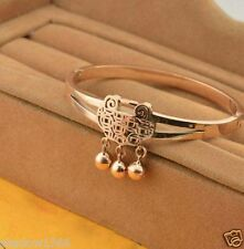 Rose Gold Lucky Bell Lock Stainless Steel Bracelet Bangle For Health And Wealth