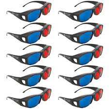 10X Anaglyph Dimensional Movie DVD Game Red Blue 3D Glasses Black Frame Resin