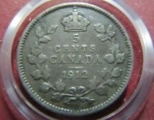 CANADA,  Vintage  1912  King George V  5  CENTS SILVER COIN, Very Fine Coin