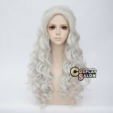 80CM Long Silver White Curly Fashion Style Women Girls Anime Cosplay Lolita Wig