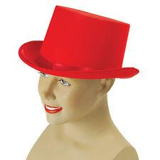#TOP HAT SATIN RED 1920s & 1930s GENTLEMAN MAGICIANS FANCY DRESS ADULT