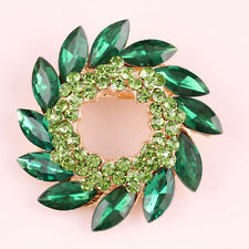 Women's Wedding Bridal Pin Crystal Green Flower Brooch Gold Plated Jewelry Gift