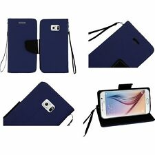 For Samsung Galaxy S6 PU Leather Flip Wallet Credit Card - Dark Blue