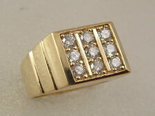 14K MEN'S DIAMOND RING 14 KARAT YELLOW GOLD SQUAEE TOP 1.00 CARAT DIAMOND RING
