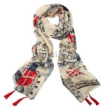 Women's London Fashion Newspaper UK Flag Union Jack Print Wrap Scarf Long Shawl