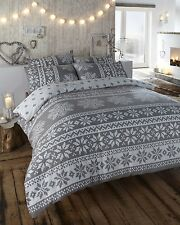 ALPINE 100% COTTON FLANNELETTE THERMAL SINGLE DUVET QUILT COVER SET INNSBRUCK
