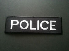 HEAVY METAL PUNK ROCK MUSIC SEW / IRON ON PATCH:- POLICE STRIPE (a) SILVER