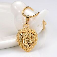 "18K Yellow Gold Filled Pendant Womens Necklace GF Chain 18""Link Fashion Jewelry"