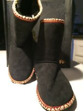 Koolaburra Woman's Sheepskin Boot Color Black with  Color Threaded Trim