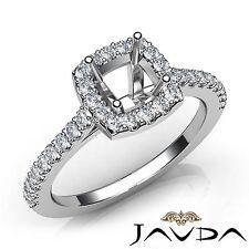 Halo U Cut Prong Diamond Engagement Cushion Semi Mount Ring 18k White Gold 0.5Ct