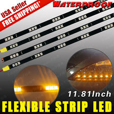 4X 12V 15-LED 30cm 5050 Car Motor Flexible Waterproof Strip Light Amber Yellow