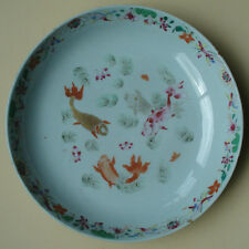 YONGZHENG FAMILLE ROSE PLATE CARPS & GOLD FISH 18TH. C ANTIQUE CHINESE PORCELAIN