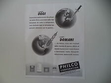 advertising Pubblicità 1944 PHILCO CORPORATION FRIGORIFERI TELEVISORI RADIO