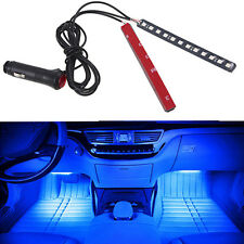 12 LED Car Charge 12V 2in1 Auto Interior Light Blue Decor Atmosphere Light Lamp