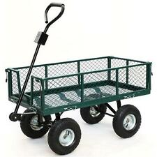 "AU 400kg 48"" Steel Garden Cart Folding Mesh Sides Trolley Farm Wagon Trailer"