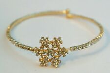 Gold Snowflake Austrian Crystal Wrap Plated Bracelet One Size Winter Gift