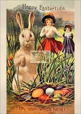 REPRINT PICTURE of old postcard EASTER HAPPY EASTERTIDE 5x7