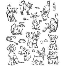TIM HOLTZ STAMPERS ANONYMOUS CLING MOUNT RUBBER STAMP SET - MINI CRAZY CATS DOGS
