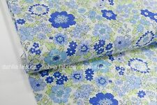 Lecien Memoire a Paris Cotton Lawn Blue Green Floral Japanese Fabric By The Yard