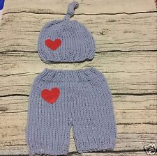Crochet Newborn Photography Knit Heart Love Hat Pant Infant Baby Photo Prop
