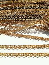 narrow metallic gold and silver lace braid trimming ideal for Christmas crafts