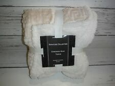 """New Signature Collection Embossed Cream Mink/Sherpa 50"""" x 60"""" Throw"""