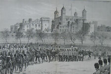 1890 Large Antique Print - Funeral of Lord Napier of Magdala - Tower Of London