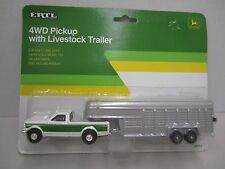 4 WD PICKUP with LIVESTOCK TRAILER - ERTL 1992- #5712 - Die Cast - 1/64 Scale