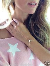 Gold With Finger Ring Bracelet LOVE Heart Simple Eutopean Style Girls Bracelet