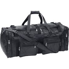 "Large Black 31"" Genuine Leather Duffle Bag, Mens Carry-On Overnight Luggage Tote"