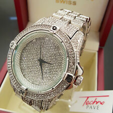 Men Hip Hop White Gold Plated Iced Out Techno Pave Bling Rapper Metal Band Watch