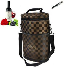 Vina Double Bottles Insulated Wine Cooler Bag Beer Carrier Picnic Travel Tote...