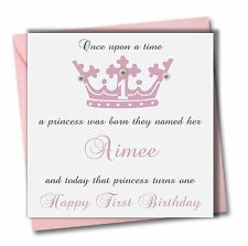 PERSONALISED Girl Sister God Daughter Granddaughter First 1st one Birthday Card
