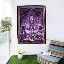 Indian Lord Ganesha Tapestry Throw Decor Bedcover Hippie God Wall Hanging Purple