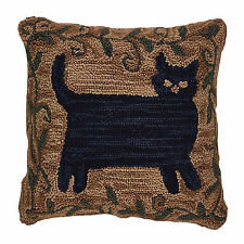 Pretty Primitive Folk Art Black Cat Hooked Pillow Cover, 18x18 Inch, 403-52-CVR