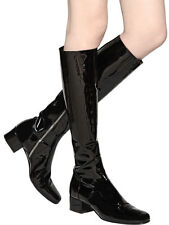 NEW $1,495+ YSL Saint Laurent 40mm BABIES Patent Leather Knee High Boots 37 - 7