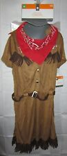 NWT Youth Halloween Costume Cow Girl Brown Dress Bandana Medium