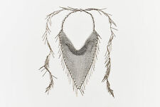 Isabel Marant Silver Tone Brass Chainmail Handkerchief Fringe Necklace