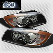 For 05-08 BMW E90 3-Seires Twin Halo Projector Blk Headlights Lamp Head Lights