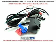 """Permanent Windshield Mount+9'3"""" Direct Wire(With Fuse) ESCORT MAX Radar Detector"""