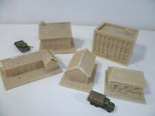 5 x resin unpainted model buildings for 6mm wargames, 1/300th and 1/285th scale