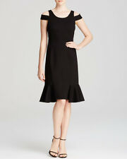 Rebecca Taylor Black Off The Shoulder Ponte S/L Dress $325 NWT 2