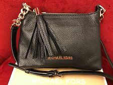 NWT MICHAEL KORS pebbled LEATHER BEDFORD W/ TASSEL SMALL CROSSBODY BAG IN BLACK