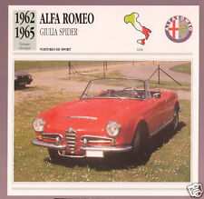 1962-1965 Alfa Romeo Giulia Spider Car Photo Spec Sheet French Card 1963 1964