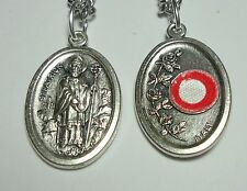 "St Patrick 3rd Class Relic Catholic Holy Medal on 24"" Stainless Steel Chain NEW"