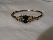...Victorian Gold Filled,Celluloid Cameo with Koi Fish Accents Hinge Bracelet...