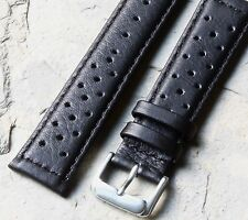 Black 20mm leather racing band takes 18mm Heuer buckle for vintage chronograph
